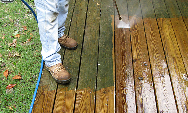 Exterior spring maintenance includes cleaning the deck.