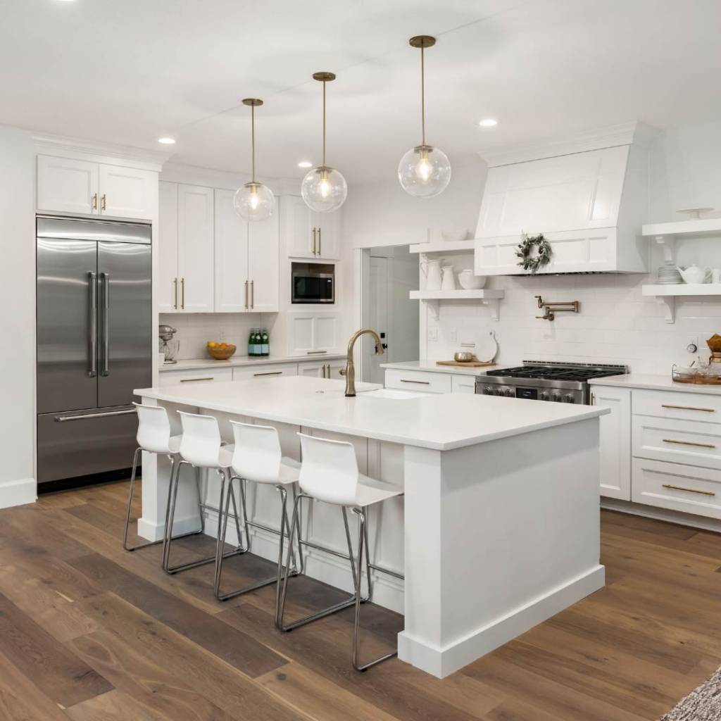 modern kitchen with island in middle