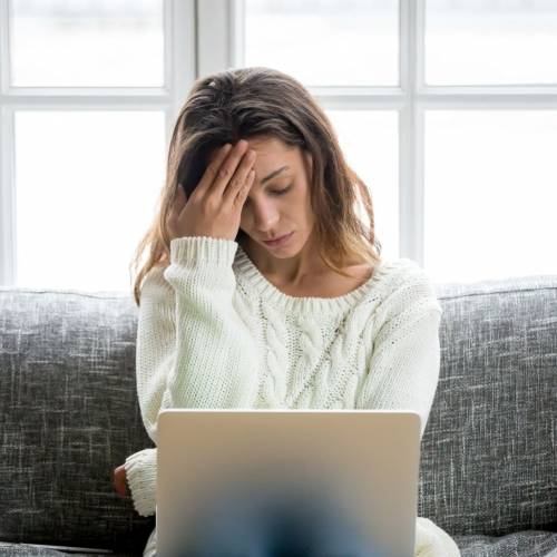 Woman with buyer fatigue